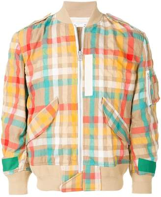 Sacai check bomber jacket