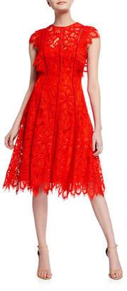 Lela Rose Flutter Sleeve Seamed Dress