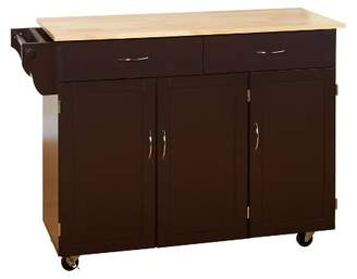 Buylateral Extra Large Kitchen Cart with Wood Top