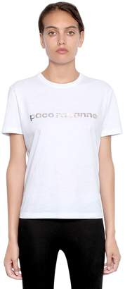 Paco Rabanne Logo Printed Cotton Jersey T-Shirt