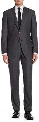Hart Schaffner Marx Grey Windowpane Two Button Notch Lapel Wool New York Fit Suit