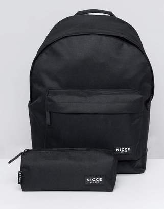 Nicce London Logo Backpack In Black With Pencilcase Set