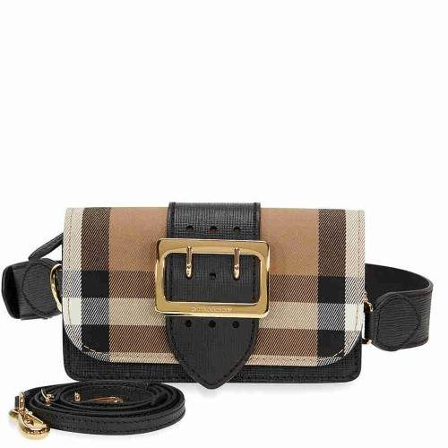 Burberry Small Buckle Bag in House Check and Leather - Black