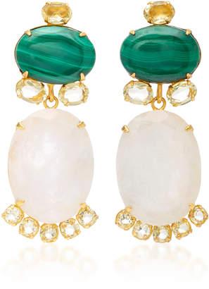 Bounkit Malachite Moonstone and Lemon Quartz 14K Gold-Plated Brass Drop Earrings
