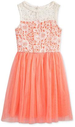 Sequin Hearts Crochet-Bodice Mesh Dress, Big Girls (7-16) $64 thestylecure.com