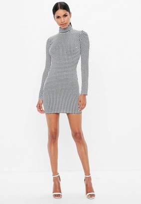Missguided Black Polka Dot High Neck Long Sleeve Mini Dress, Black