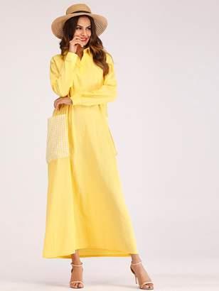 Shein Gingham Pocket Collar Dress