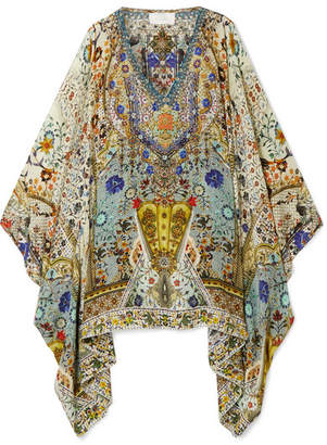 Camilla The Butterfly Effect Embellished Printed Silk Crepe De Chine Kaftan - Blue