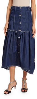 Chloé Distressed Denim Midi Skirt