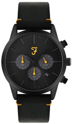 Farah Men the Chrono Collection Black Leather Strap Watch 42mm