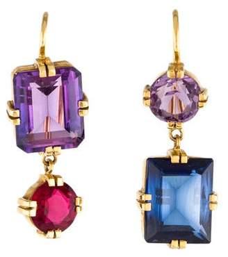 Renee Lewis Antique Amethyst, Synthetic Sapphire & Paste Drop Earrings