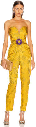 Raisa&Vanessa RAISA&VANESSA Embellished Strapless Jumpsuit in Yellow | FWRD
