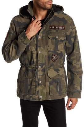 Affliction Camo Front Zip Faux Shearling Hood Lining Jacket