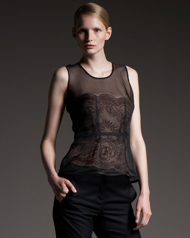 Stella McCartney Organza-Overlay Lace Bustier