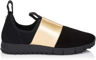 Jimmy Choo OAKLAND/F Black Suede and Mesh with Gold Metallic Elastic Sock-Like Trainers