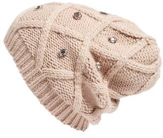 Women's Halogen Embellished Knit Beanie - Beige $34 thestylecure.com