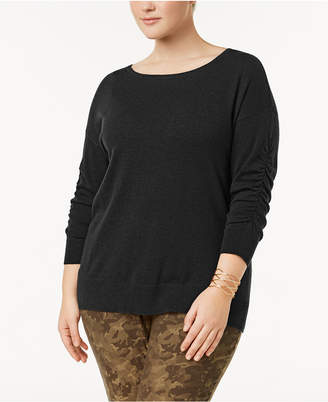 INC International Concepts I.n.c. Plus Size Ruched-Sleeve Sweater, Created for Macy's