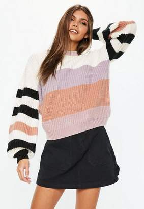 Missguided Cream Crew Neck Colourblock Sweater