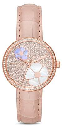 Michael Kors Rose Gold-Tone Courtney Floral Pavé Watch, 36mm