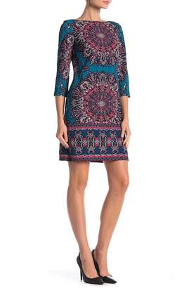 London Times Geo Printed Half Sleeve Shift Dress