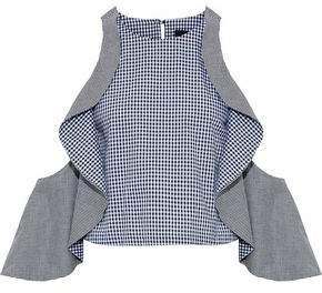 Nicholas Cold-Shoulder Gingham Cotton-Poplin Top