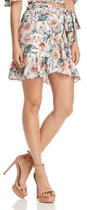 J.o.a. Ruffled Floral Faux-Wrap Skirt