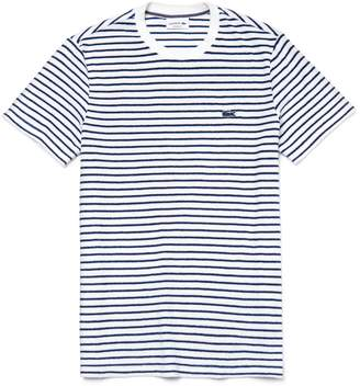 Lacoste Men's Contrasting Crew Neck Striped Cotton Terrycloth T-shirt