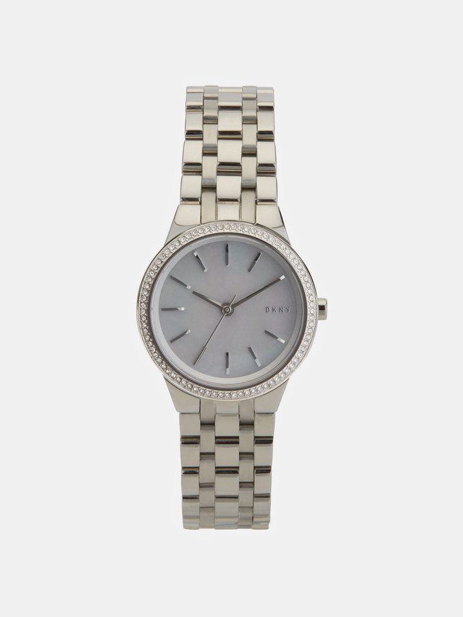 DKNY Park Slope 28mm Stainless Steel Watch With Glitz And Mother Of Pearl Dial