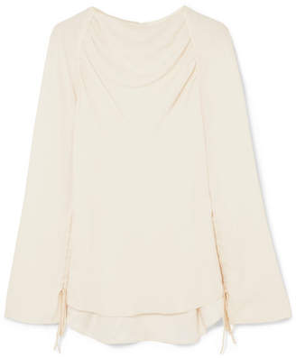 Marni Ruched Crepe Blouse - Cream