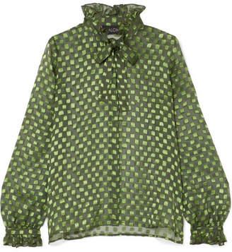 Saloni Emile Pussy-bow Fil Coupé Silk-blend Chiffon Blouse - Green