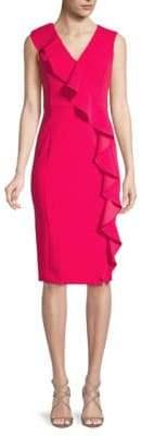 Calvin Klein Asymmetrical Ruffle Sheath Dress