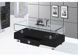 clear Best Quality Furniture Coffee Table with Top Square Shape Glass & Storage Drawer Multiple Colors