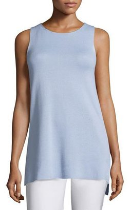 Eileen Fisher Long Silk/Cotton Interlock High-Low Shell $178 thestylecure.com