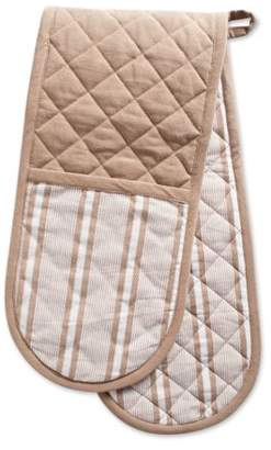 "DII Cotton Stripe Quilted Double Oven Mitt, 35 x 7.5"", Machine Washable and Heat Resistant Kitchen Moppine for Everyday Cooking and Baking-Stone Taupe"