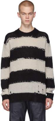 Acne Studios Black and Grey Stripe Kantonia Sweater