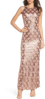 Morgan & Co. Strappy Back Sequin Gown