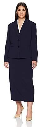 Le Suit Women's Size Plus Crepe 2 BTN Notched Petal Collar Column Skirt