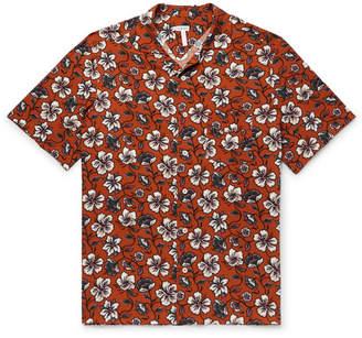 Loewe Camp-collar Floral-print Woven Shirt - Brown