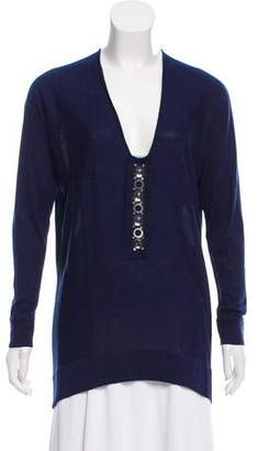 Magaschoni Silk & Wool-Blend Embellished Top