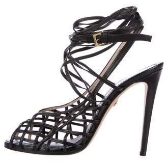 Emilio Pucci Leather Cage Sandals