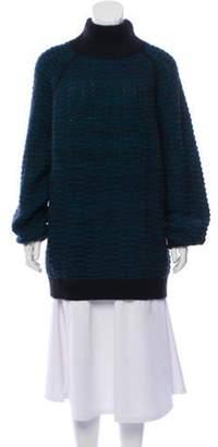 Marc Jacobs Cashmere-Blend Mock Neck Sweater Blue Cashmere-Blend Mock Neck Sweater