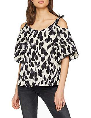 0fe0721d321950 Quiz Women s Cold Shoulder top Regular Fit Animal Print V-Neck Short Sleeve  T -
