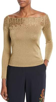 Etro Off-the-Shoulder Long-Sleeve Metallic-Knit Top