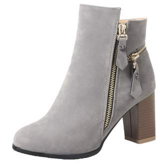 0735966703db Vitalo Womens Stacked Chunky High Heels Ankle Booties Zip Up Winter Autumn  Short Boots Size