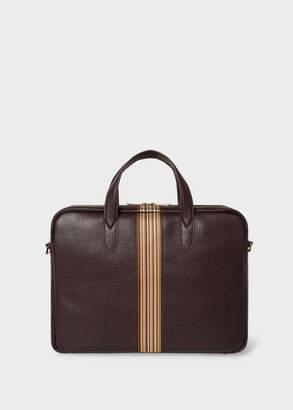 Paul Smith Men's Dark Burgundy Signature Stripe Slim Leather Business Folio