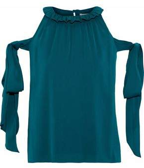 Milly April Cold-Shoulder Bow-Detailed Stretch-Silk Blouse