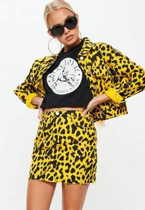 Missguided Yellow Leopard Print Denim Mini Skirt Co-Ord