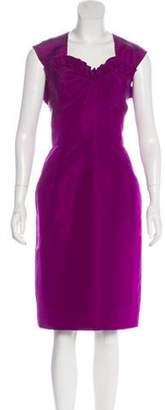 Oscar de la Renta Silk Knee-Length Dress Violet Silk Knee-Length Dress