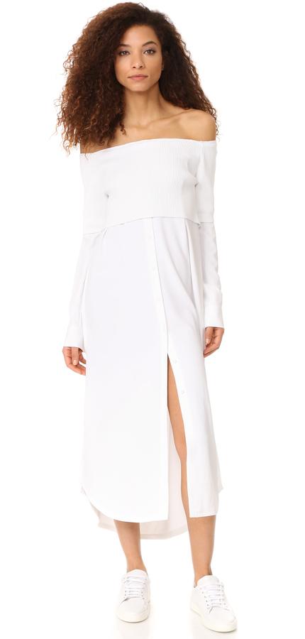 DKNYDKNY Long Sleeve Off Shoulder Dress