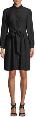 Rebecca Taylor Long-Sleeve Silk Tie-Front Shirtdress